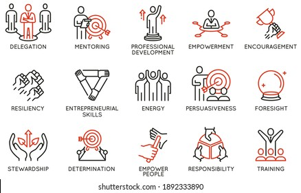 Vector Set of Linear Icons Related to Leadership Traits, Qualities for Success. Development and Teamwork. Mono Line Pictograms and Infographics Design Elements - part 3
