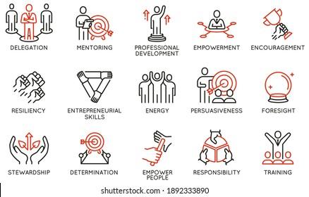 Vektorset mit linearen Symbolen in Verbindung mit Führungsqualitäten, Erfolgsqualitäten. Entwicklung und Teamarbeit. Mono-Line-Piktogramme und Infografik-Design-Elemente - Teil 3