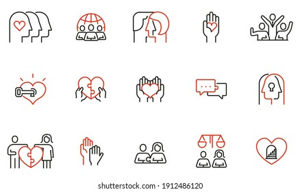 Vector Set of Linear Icons Related to Harmony to Relationships, Interaction, Joint Development and Equality. Mono Line Pictograms and Infographics Design Elements - part 1