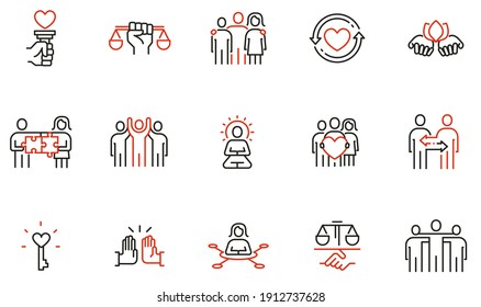 Vector Set of Linear Icons Related to Harmony to Relationships, Interaction, Joint Development and Equality. Mono Line Pictograms and Infographics Design Elements - part 2