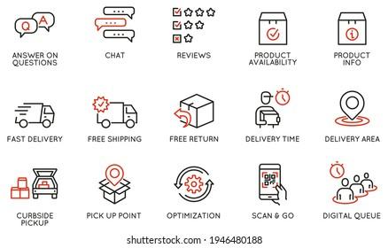 Vektorset mit linearen Symbolen im Zusammenhang mit dem Versand- und Express-Liefervorgang, der Bequemlichkeit von Kaufprodukten und der digitalen Transformation. Mono-Line-Piktogramme und Infografik-Design-Elemente