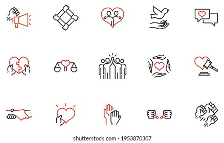 Vector Set of Linear Icons Related to Harmony to Relationships, Human Rights, Interaction, Joint Development and Equality. Mono Line Pictograms and Infographics Design Elements - part 3