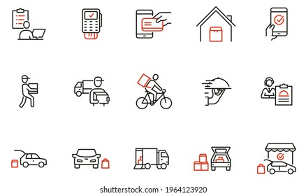 Vektorset mit linearen Symbolen im Zusammenhang mit Express Delivery Process, Delivery Home, Contacless und Order Curbside Pickup Online. Mono-Line-Piktogramme und Infografik-Design-Elemente