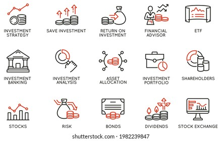 Vector Set of Linear Icons Related to investment strategy, trade service, finance management. Mono Line Pictograms and Infographics Design Elements
