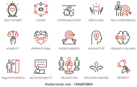 Vector Set of Linear Icons Related to Leadership Traits, Qualities for Success. Development and Teamwork. Mono Line Pictograms and Infographics Design Elements - part 5