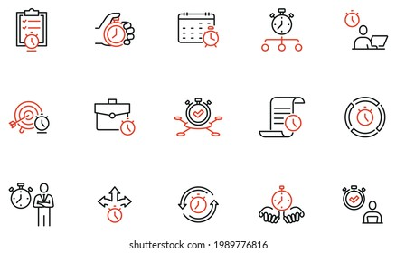 Vector Set of Linear Icons Related to Time Management, Reminder, Working Hours. Mono Line Pictograms and Infographics Design Elements