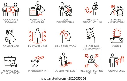 Vector Set of Linear Icons Related to Coaching, Skills, Career Development, Striving for Self-Realization and Leadership Development. Mono Line Pictograms and Infographics Design Elements