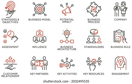 Vector Set of Linear Icons Related to Business Processes, Interaction, Partnership and Management. Mono Line Pictograms and Infographics Design Elements