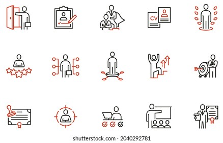 Vector Set of Linear Icons Related to Recruitment, Career Progress, Personal Development, Striving for Success, Motivation and Training. Mono Line Pictograms and Infographics Design Elements