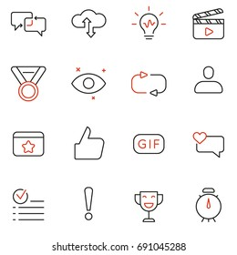 Vector Set Of Linear Icons Related to Feedback, Review and Customer Relationship Management. Mono Line Pictograms and Infographics Design Elements - part 2