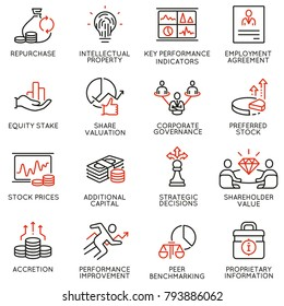 Vector set of linear icons related to business process, team work, human resource management and stakeholders. Mono line pictograms and infographics design elements - part 4