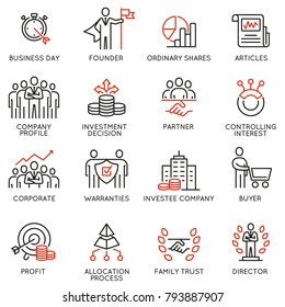 Vector set of linear icons related to business process, team work, human resource management and stakeholders. Mono line pictograms and infographics design elements - part 5
