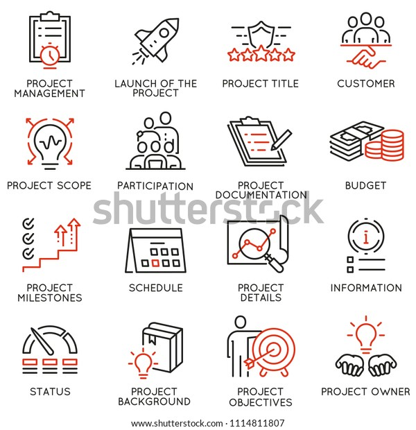 Vector Set Linear Icons Related Project Stock Vector (Royalty Free