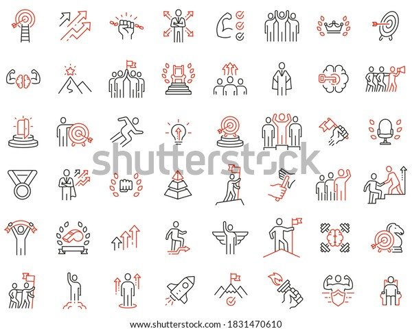 Vector Set of Linear Icons Related to Human Resource, Leadership Traits, Striving for Development, Career Progression and Self-Realization. Mono Line Collection Icons and Infographics Design Elements