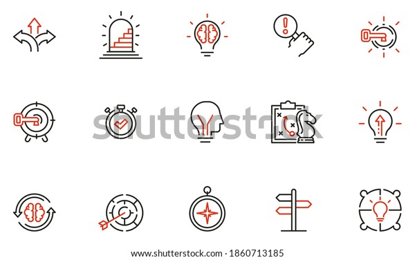 Vector Set of Linear Icons Related to Decision-Making Process, Problem Solving, Need to Choose. Mono Line Pictograms and Infographics Design Elements