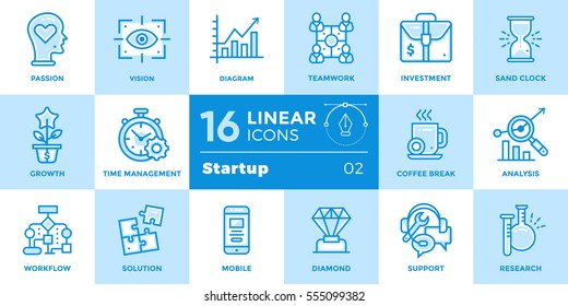Vector set of linear icons for startup business. High quality modern icons for suitable for banners, mobile apps and presentation