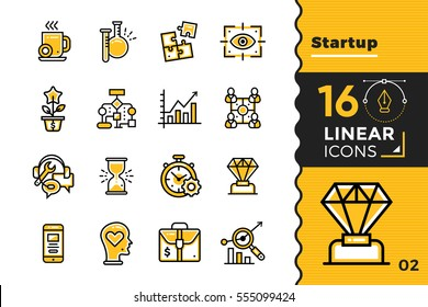 Vector set of linear icons for startup business. High quality modern icons for suitable for print, website and presentation
