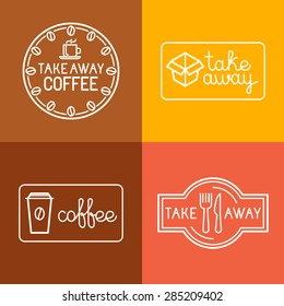 Vector set of linear labels and logo design elements for take away food and coffee to go - mono line icons and badges for cafes and catering