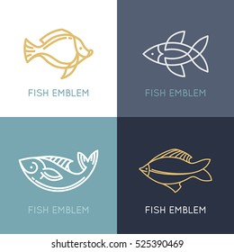 Vector set of linear logos and emblems -  fish and fishing - abstract design elements