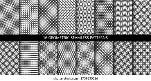 Vector set of linear ornamental seamless patterns. Collection of simple geometric modern patterns. Patterns added to the swatch panel.