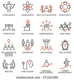 Vector set of linear quality icons related to business management, strategy, career progress and business process - part 5