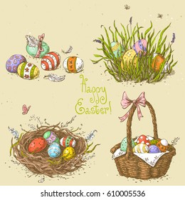 Vector set with linear sketches.Easter basket with eggs, easter eggs hidden in the grass, easter nest.Hand drawn vintage vector illustration with on the textured paper background. Image in retro style