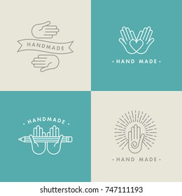 Vector set in linear symbol, hand made labels and badges or icon. Logotype with heart and hands. Hands holding a pencil