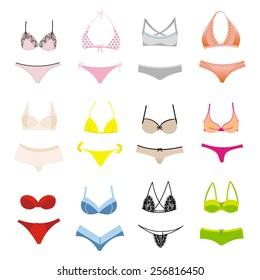 Vector set of lingerie. Lacy underwear and swimwear.