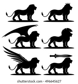 Vector set. Lion signs.