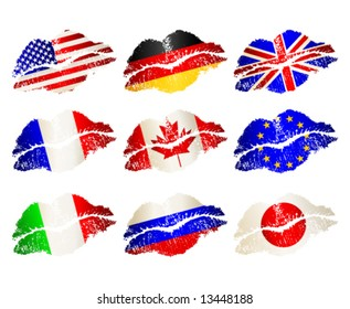 Vector set of lips-flags