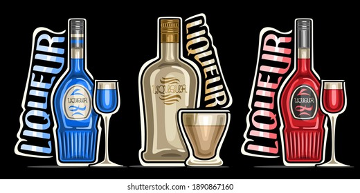 Vector set of Liqueurs, 3 outline illustrations of colorful bottles with decorative labels and full glasses of various sweet liqueurs, different unique lettering for words liqueur on dark background.