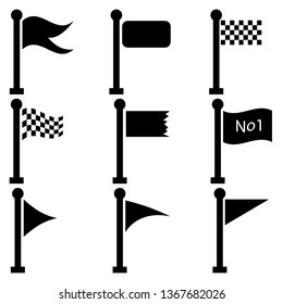 Vector Set of little black flags on Flagpoles. Each Flag is seperated in one group.