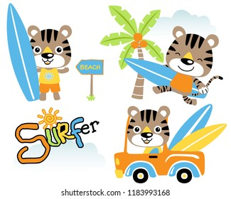 Vector set of little cat cartoon, surfing time in the beach. Eps 10
