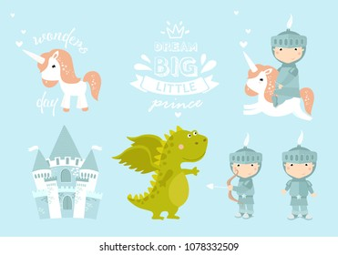 vector set of little knight. knight on horseback, dragon, castle, little prince, cartoon prince, cartoon knight, little boy