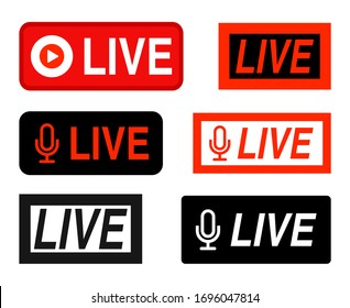 Vector set of live icon broadcast red buttons collection isolated on white background