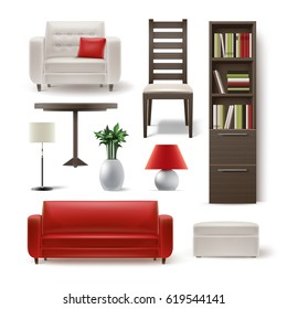 Vector set of living room furniture brown wooden bookcase, dining chair, white armchair, round table, plant, floor lamp, pouf and red sofa isolated on background