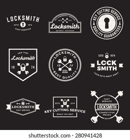 vector set of locksmith labels, badges and design elements with grunge textures