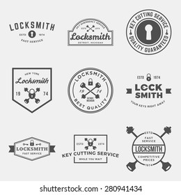 vector set of locksmith labels, badges and design elements