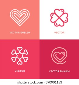 Vector set of logo design elements and templates - heart symbols - love and care concepts