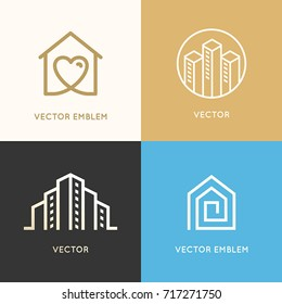 Vector set of logo design elements and emblems related to construction, renovation and real estate industry - buildings - house with heart, city skyline