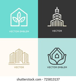 Vector set of logo design elements and emblems related to construction, renovation and real estate industry - buildings - skyscraper, ecological house, city landscape and hands holding house