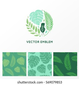 Vector set of logo design template and seamless patterns made with green palm trees - abstract sign with tropical leaves