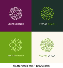 Vector set of logo design templates and emblems made with leaves - luxury beauty spa concepts - badges for yoga studios, holistic medicine centers, natural organic food products and packaging