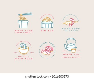Vector set of logo design templates and emblems or badges. Asian food - noodles, dim sum, soup, sushi. Linear logos