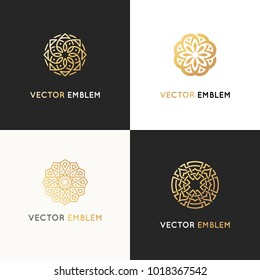 Vector set of logo design templates - abstract symbols in ornamental arabic style - emblems for luxury products, hotels, boutiques, jewelry, oriental cosmetics, restaurants, shops and stores