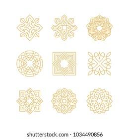 Векторный набор шаблонов дизайна логотипа - абстрактные символы в орнаментальном арабическом стиле - эмблемы для элитных товаров, гостиниц, бутиков, ювелирных изделий, восточной косметики, ресторанов, магазинов и магазинов
