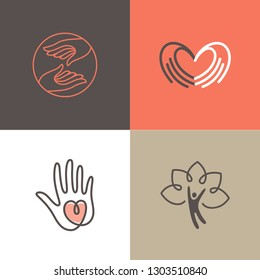 Vector set of logo design templates - charity and volunteer concepts - hands with heart - emblems and signs for nonprofit and philanthropic organisations, charity shops, crowdfunding platforms
