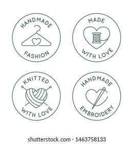 Vector set of logo design templates in simple linear style - handmade fashion and crafts badges - emblems handmade embroidery, made and knitted with love
