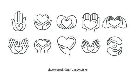 Vector set of logo design templates in simple linear style - hearts and hands - charity and volunteer organisations emblems and handmade businesses