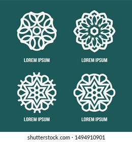 Vector set of logo design templates. abstract symbols in ornamental arabic and mandala style. emblems for luxury products, hotels, boutiques, jewelry, oriental cosmetics, restaurants, shops and stores
